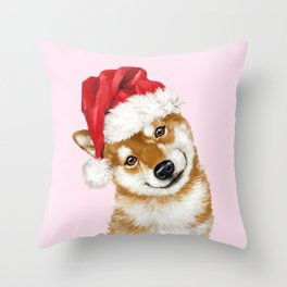 Christmas Shiba Inu Throw Pillow