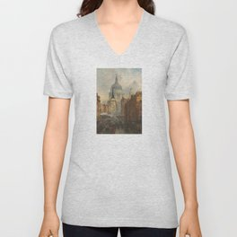 London skyline, Vintage view of St Paul's Cathedral Victorian era Unisex V-Neck