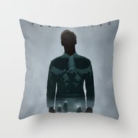 prometheus Throw Pillows featuring Prometheus by Luke Eckstein
