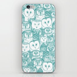 just owls teal blue iPhone Skin