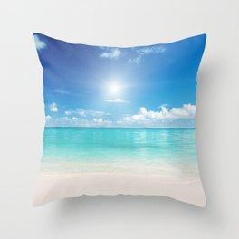 Beach Sun Clouds Ocean Blues Sunshine Waves Seaside Throw Pillow