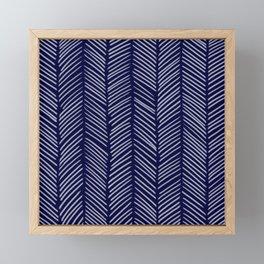 Indigo Herringbone Framed Mini Art Print