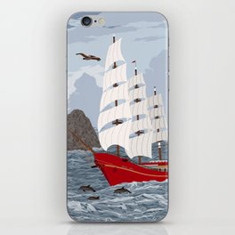 Red ship iPhone Skin