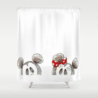 minnie Shower Curtains featuring Mickey and Minnie Mouse.  by Christa Morgan ☽