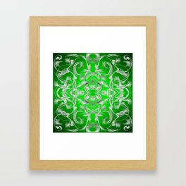 silver and green Digital pattern with circles and fractals artfully colored design for house Framed Art Print