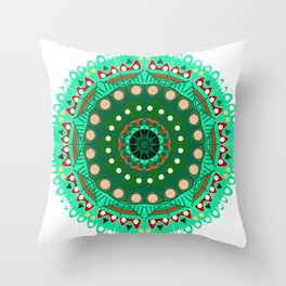 the blossoming of a forest mandala Throw Pillow