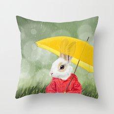 It's raining, little bunny! Throw Pillow