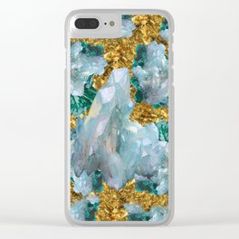 WHITE QUARTZ  CRYSTALS & BLUE-GREEN AQUAMARINE Clear iPhone Case