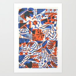 Abstract - Copenhagen and Vermillion Art Print