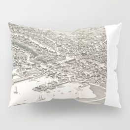 Vintage Pictorial Map of Nantucket (1881) Pillow Sham