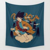 dragonball Wall Tapestries featuring woodblockkakarot by Louis Roskosch