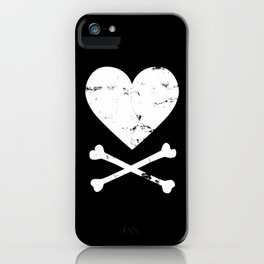 Heart and Crossbones - White iPhone Case