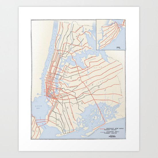 Plans for New York Subway Expansion, 1920 Art Print