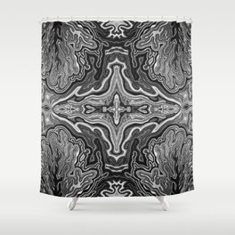 Abstract #4 - V - High Contrast Black & White Shower Curtain