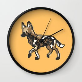 8-bit African Wild Dog Wall Clock