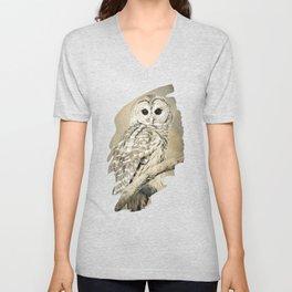 Sepia Owl Unisex V-Neck