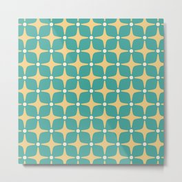 Mid Century Modern Star Pattern 143 Teal and Yellow Metal Print