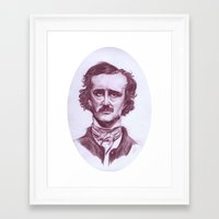 edgar allen poe Framed Art Prints featuring Edgar Allen Poe by danielle n horowitz