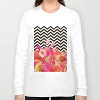robin Long Sleeve T-shirts featuring Chevron Flora II by Bianca Green