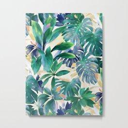 Golden Summer Tropical Emerald Jungle Metal Print