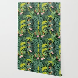 Chameleons And Salamanders In The Jungle Pattern Wallpaper