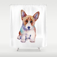 corgi Shower Curtains featuring Corgi puppy by Life&Style