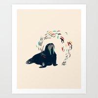 walrus Art Prints featuring Walrus. by Urška Hočevar