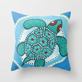 Funky Teal Turtle Throw Pillow