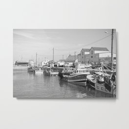 Vintage french harbour in black and white - Normandy summer - travel photography Metal Print