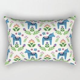 Swedsh Dala Horses Blue Rectangular Pillow