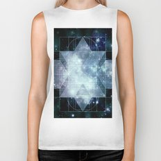 Galaxy Sacred Geometry Rhombic Hexecontahedron Blue Biker Tank