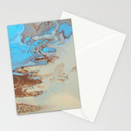 Fluid Art Acrylic Painting, Pour 27, Brown, Tan & Blue Blended Color Stationery Cards