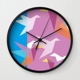 Pastel Paper Cranes Wall Clock