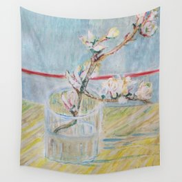 Almond blossoms in the glass Wall Tapestry