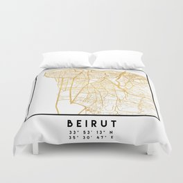 BEIRUT LEBANON CITY STREET MAP ART Duvet Cover