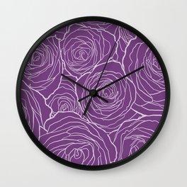 Purple Roses Wall Clock