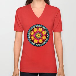 folk flowers collage Unisex V-Neck
