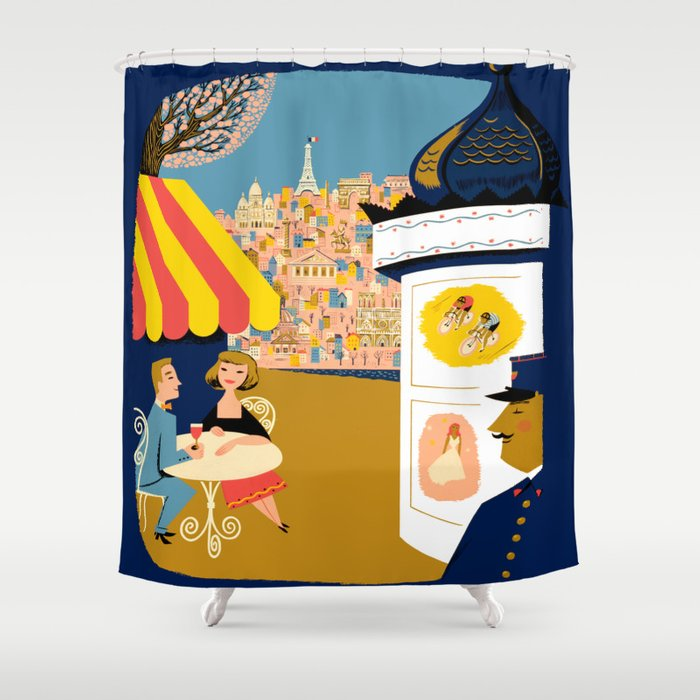 Vintage France Sidewalk Cafe Travel Shower Curtain By Yesteryears
