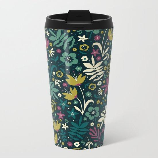 Midnight Florals (pop) Metal Travel Mug