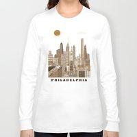philadelphia Long Sleeve T-shirts featuring Philadelphia skyline vintage by bri.buckley