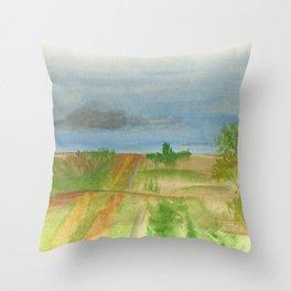 watercolor road Throw Pillow