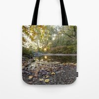 indiana Tote Bags featuring indiana fall by Bonnie Jakobsen-Martin