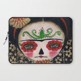 Frida The Catrina And The Skull - Dia De Los Muertos Mixed Media Art Laptop Sleeve
