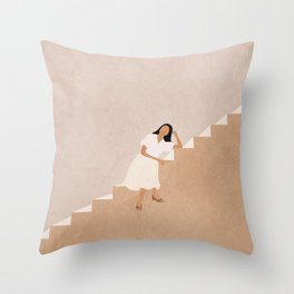 Girl Thinking on a Stairway Throw Pillow