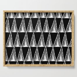 Hand Drawn Geometric Triangle Monochrome Art Deco Pattern Serving Tray