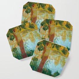 Nymphe près d'une pièce d'eau by Gaston La Touche - French Post-Impressionism Coaster