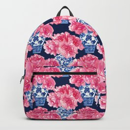 Watercolor Peony Bouquets in Blue Chinese Vases on Navy Backpack