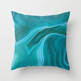 Agate sea green texture Throw Pillow