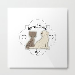 Unconditional Love Cat and Dog as Family Members Stripes Metal Print