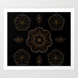 Neutral old gold mandala art floral pattern design Art Print